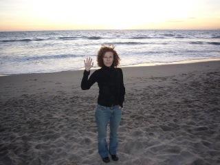 Amy G. waving in S. Monica